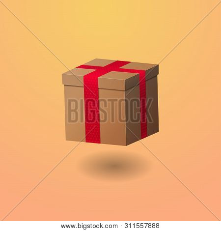 Gift Box With Ribbon. Realistic Illustration On Warm Gradient Background. Red Ribbon Without A Bow.