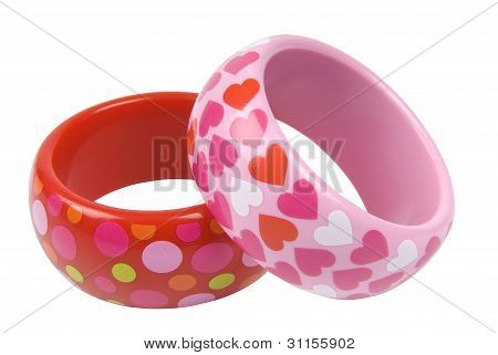 Two bracelets with patterns on white background clipping path included