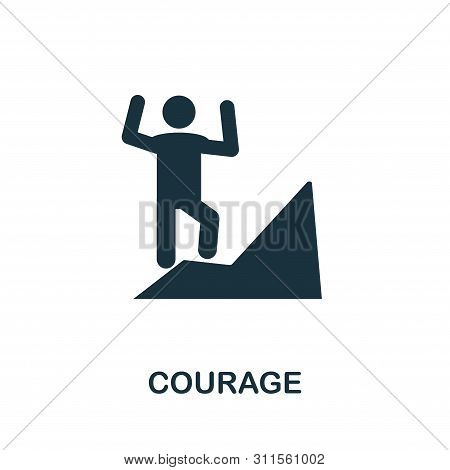 Courage Vector Icon Symbol. Creative Sign From Business Management Icons Collection. Filled Flat Cou