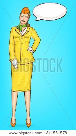 Pop Art Stewardess, Flight Attendant, Air Hostess Girl In Yellow Uniform With Cap, Green Handkerchie