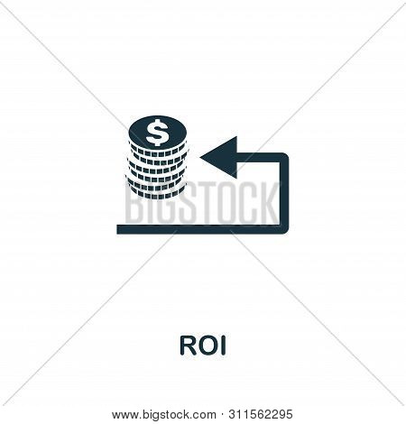 Roi Vector Icon Symbol. Creative Sign From Business Management Icons Collection. Filled Flat Roi Ico
