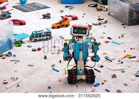 Tambov, Russian Federation - June 16, 2019 Lego Boost Robot Standing On Room Floor With Other Lego T