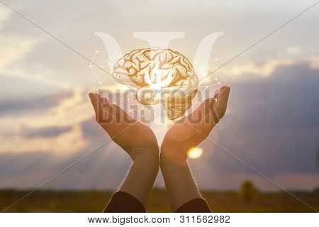 The Concept Of The Psychology Of Thinking. Hands Showing Symbol Of Psychology On The Background Of T