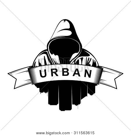 Logo Design. Hooded Man. City Silhouette. Urban. Street Art. Vector Ilustration.