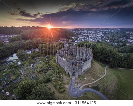 Editorial Swansea, Uk - July 14, 2019: Sunset At Oystermouth Castle, A Norman Stone Castle In South