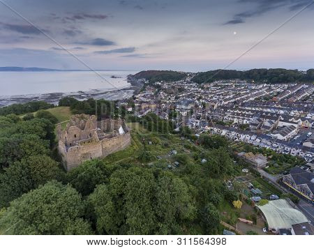 Editorial Swansea, Uk - July 14, 2019: Mumbles Village And Oystermouth Castle, A Norman Stone Castle