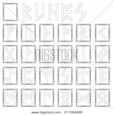 Runes. Alphabet In The Form Of Symbols With Ornaments In The Celtic Style. Vector.