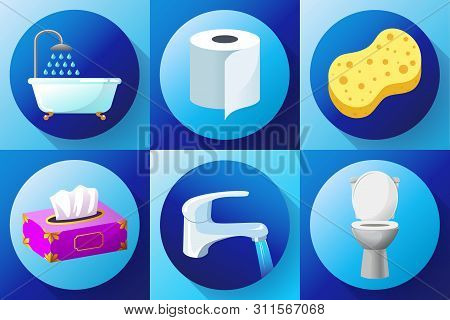 Bathroom Flat Colored Icon Set Vector - Toilet, Water Tap, Napkins, Toilet Paper, Towels, Shower, Wa