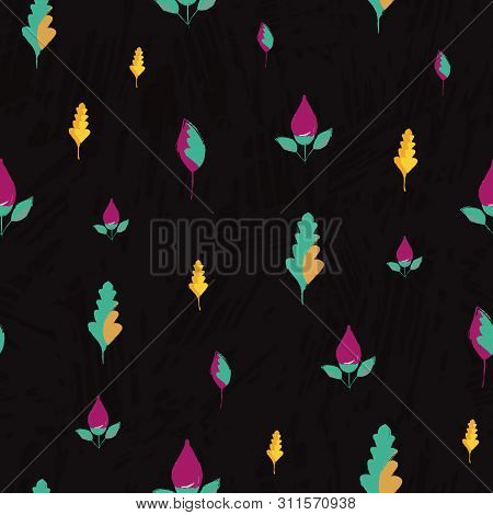 Beautiful Hand Drawn Purple Flowers And Golden Blue Leaves. Seamless Vector Pattern On Subtle Slate