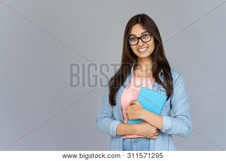 Smiling Happy Indian Young Woman College University School Student Wear Glasses Holding Book Isolate