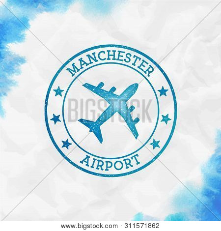 Manchester Airport Logo. Airport Stamp Watercolor Vector Illustration. Manchester Aerodrome.