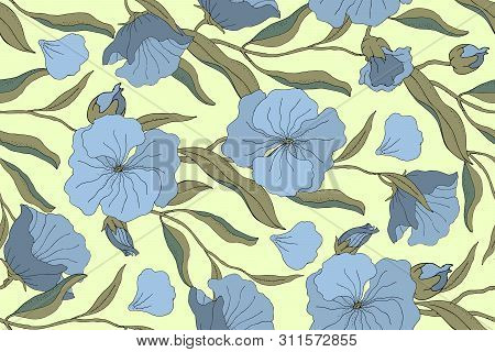 Art Floral Vector Seamless Pattern. Blue Flowers With Branches, Leaves And Petals Isolated On Pale Y