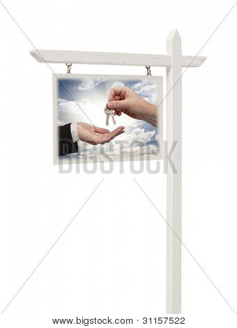 Isolated Real Estate Sign with Clipping Path - Agent Handing Over Keys.