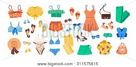 Set Of Outfit Creator With Summer Fashion Womens Clothing, Shoes, Accessories Earrings Hat Bags Glas