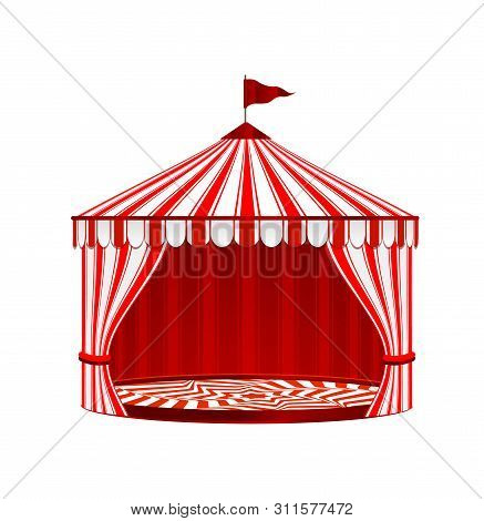 Circus Striped Tent On White Background. Circus Vintage Collection.