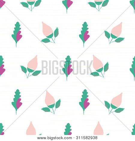 Beautiful Hand Drawn Pink Flowers And Aqua Purple Leaves. Seamless Vector Pattern On Subtle Citrus S