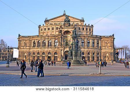 Dresden, Germany - Dec 28, 2014: The Semperoper Opera House Aka  Sachsische Staatsoper Dresden (saxo