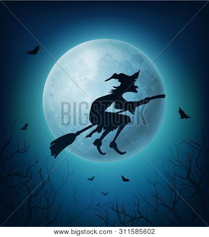 Witch Flying On Broom In Halloween Horror Night Sky. Black Silhouette Of Evil Woman On Broomstick Ag