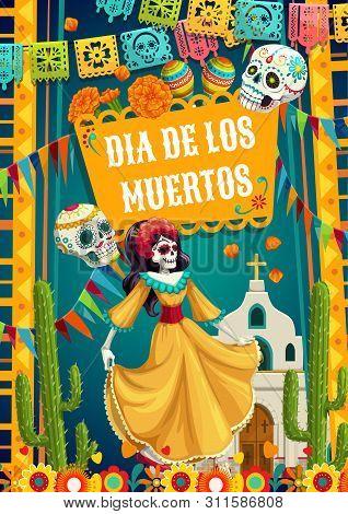 Day Of Dead, Dia De Los Muertos Fiesta, Catrina Calavera Woman In Mexican Costume Dress Dancing At C