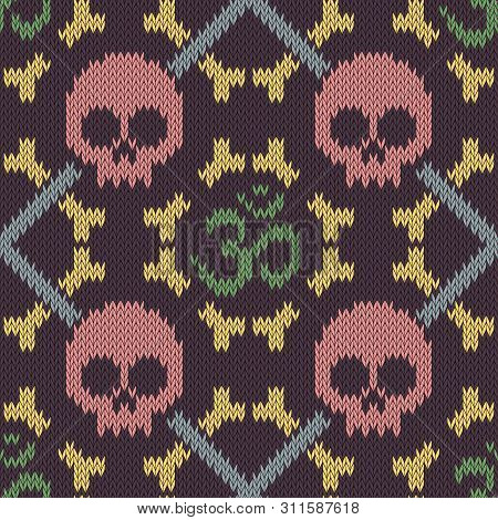 Seamless Knitted Pattern With Sacred Hinduism Symbol. Sacred Syllable, Symbol Or Mantra Om. Pink Sku