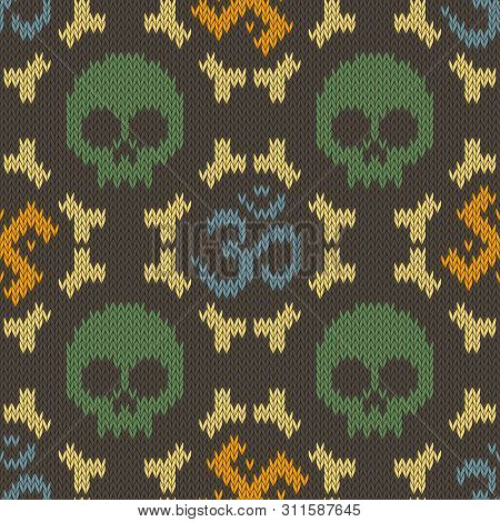 Seamless Knitted Pattern With Sacred Hinduism Symbols. Sacred Syllable, Symbol Or Mantra Om. Swastik