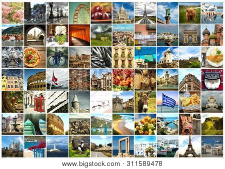 Collage of a pictures of food, objects, landmark, landscape and touristic place in Europe and scandinavian