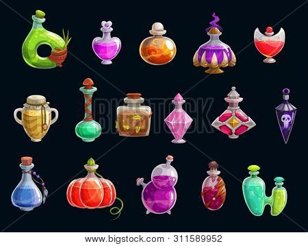 Witch Potions, Halloween Party Attributes, Magic. Vector Elixir Of Love And Death, Magical Changes,