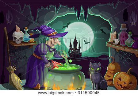 Halloween Witch Preparing Potion In Cauldron. Cartoon Old Woman Sorceress In Purple Hat, Pumpkins, B