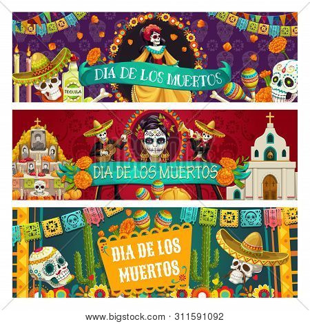 Day Of Dead Or Dia De Los Muertos Mexican Holiday Banners Of Celebration Traditional Symbols. Vector