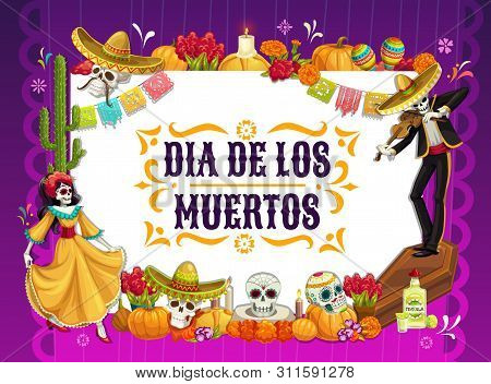 Mexican Day Of The Dead Vector Design With Skulls And Halloween Pumpkins. Catrina And Mariachi Skele