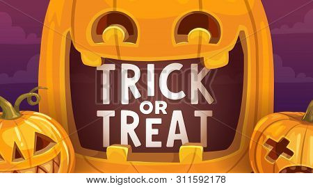 Halloween Trick Or Treat Scary Pumpkins Vector Design. Creepy Jack-o-lanterns, Autumn Horror Holiday
