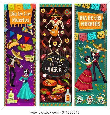 Dia De Los Muertos, Dancing With Dead In Mexico, Vector. Endless Dance Of Life And Death, Man And Wo