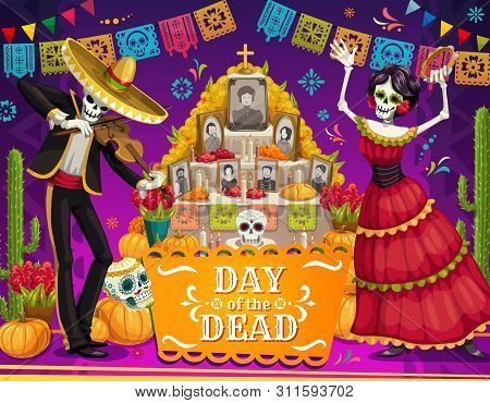 Day Of The Dead Mexican Holiday Dancing Skeletons Near Altar Vector Greeting Card. Mariachi Skeleton