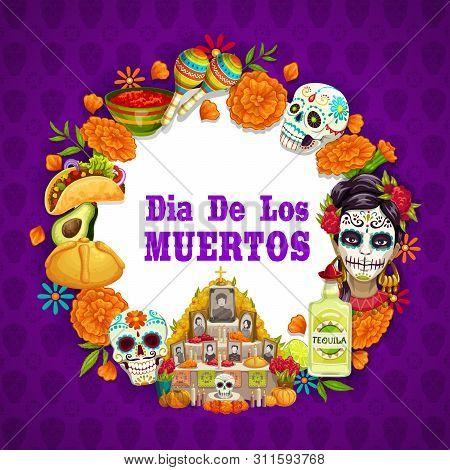 Day Of Dead Or Dia De Los Muertos Mexican Holiday Symbols On Calavera Skull And Marigold Flower Patt