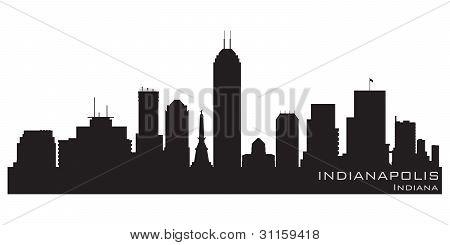 Indianapolis (Indiana) Skyline. Detaillierte Vektor Silhouette