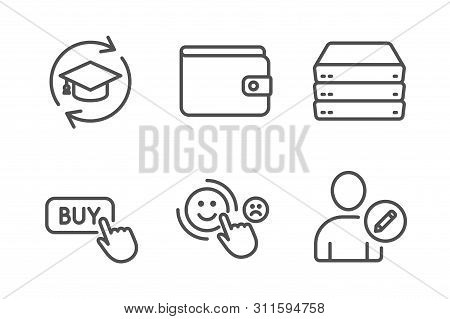 Continuing Education, Buy Button And Customer Satisfaction Icons Simple Set. Money Wallet, Servers A