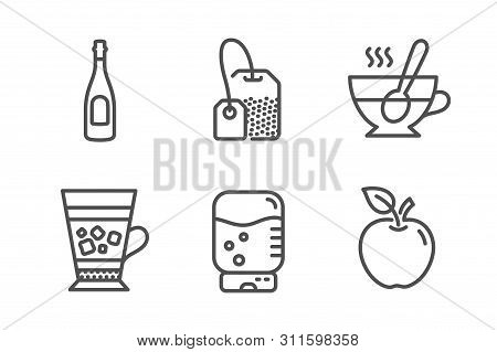 Frappe, Tea Cup And Tea Bag Icons Simple Set. Champagne, Water Cooler And Apple Signs. Cold Drink, C