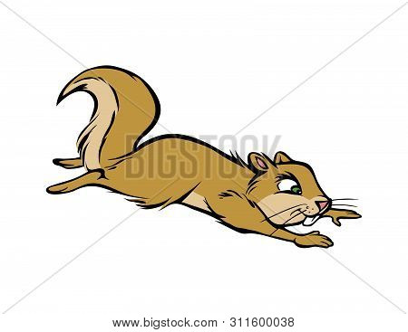 Cartoon Vector Illustration Of A Squirrel Leaping