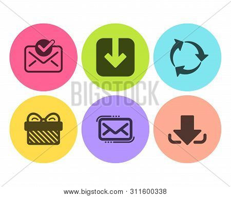 Load Document, Messenger Mail And Gift Icons Simple Set. Recycle, Approved Mail And Download Signs.