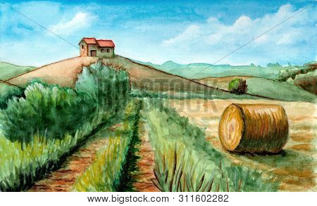 Rural landscape with ranch and round bale. Watercolor and gouache illustration.