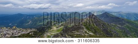 Panoramic View From Rohac Peak On Western Tatra Mountains Or Rohace Panorama With Hiking Trail On Ri