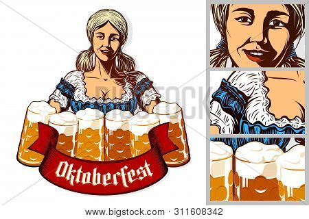 Oktoberfest Girl Waitress Holding Mugs Of Beer In Traditional Bavarian Dirndl. Isolated Emblem. Ribb