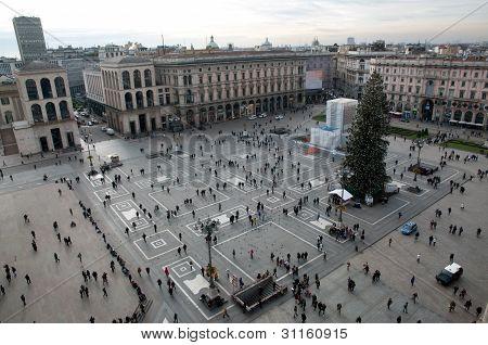Veduta aerea della Piazza Del Duomo - Milano