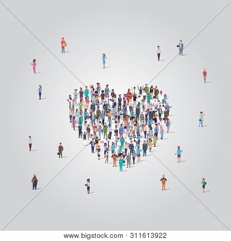 People Crowd Gathering In Heart Icon Shape Social Media Community Add To Favorite Love Concept Diffe