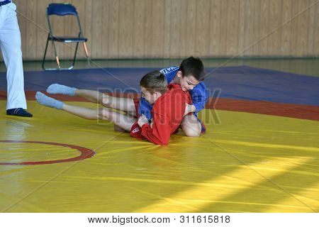 Orenburg, Russia - February 23, 2019: Boys Competitions Sambo