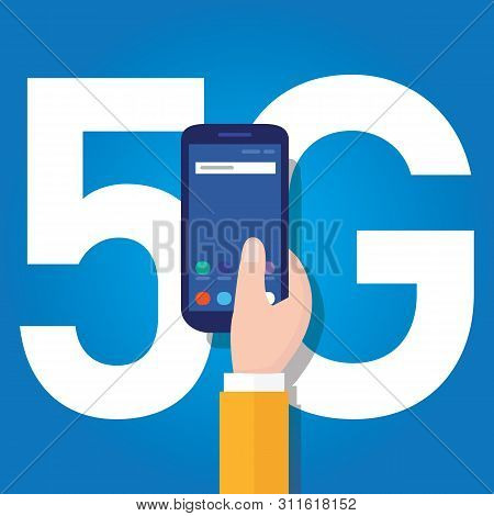 5g Phone Technology Connect Worldwide. Smart And 5th Generation Network Concept. Fast Internet.