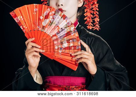 Partial View Of Beautiful Geisha In Black Kimono With Red Flowers In Hair Holding Traditional Hand F