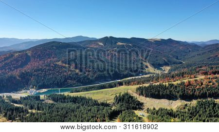 Carpathian mountain sunny landscape. Nature