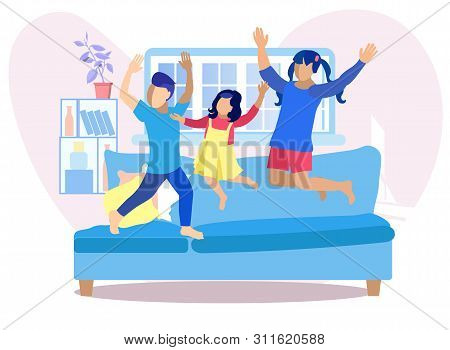 Children Having Fun At Home Flat Illustration. Happy Faceless Kids Jumping On Sofa In Living Room. D