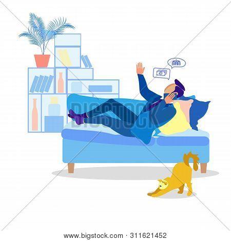 Cartoon Man Having Business Call Lying On Sofa With Cushions. Guy Solving Work Tasks On Phone. Busin